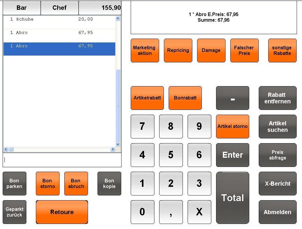 Kassensoftware-Einzelandel
